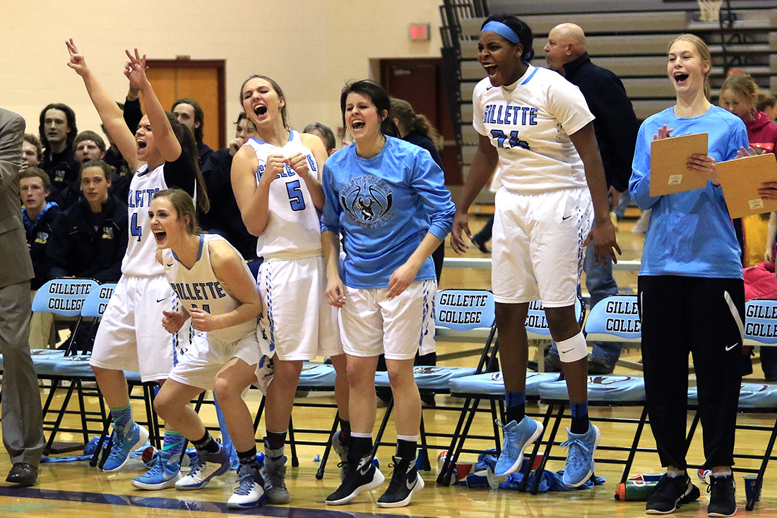 The Gillette College bench celebrates as Taylor Deaton gives the Pronghorns a late lead with a 3-pointer Wednesday January 27, 2016 at CCHS South Campus. The Pronghorns went on to beat the Sheridan Generals 54-51.