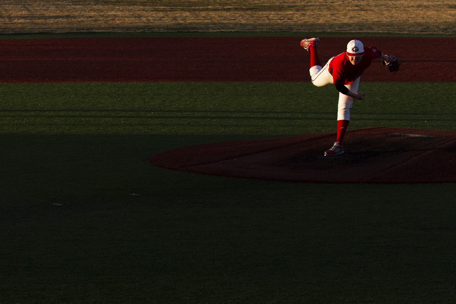 Gillette's Josh Kuhbacher throws a pitch to the Sturgis Scoopers during the Roughriders' 7-0 win over the Scoopers in their season opener at Hladky Memorial Stadium on April 7, 2016.