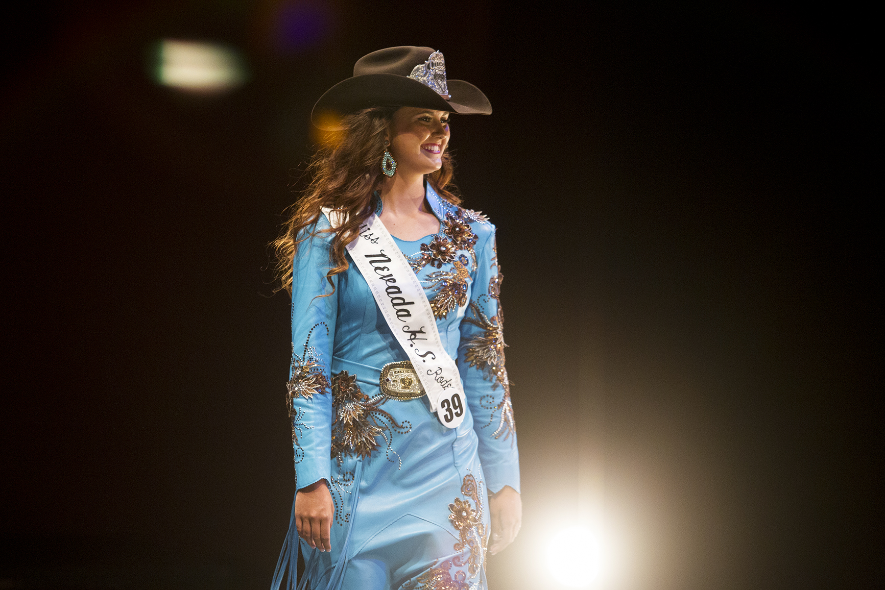 Catherine Odgers, Nevada's high school rodeo queen, is introduced Saturday night at the Heritage Center at Cam-plex.