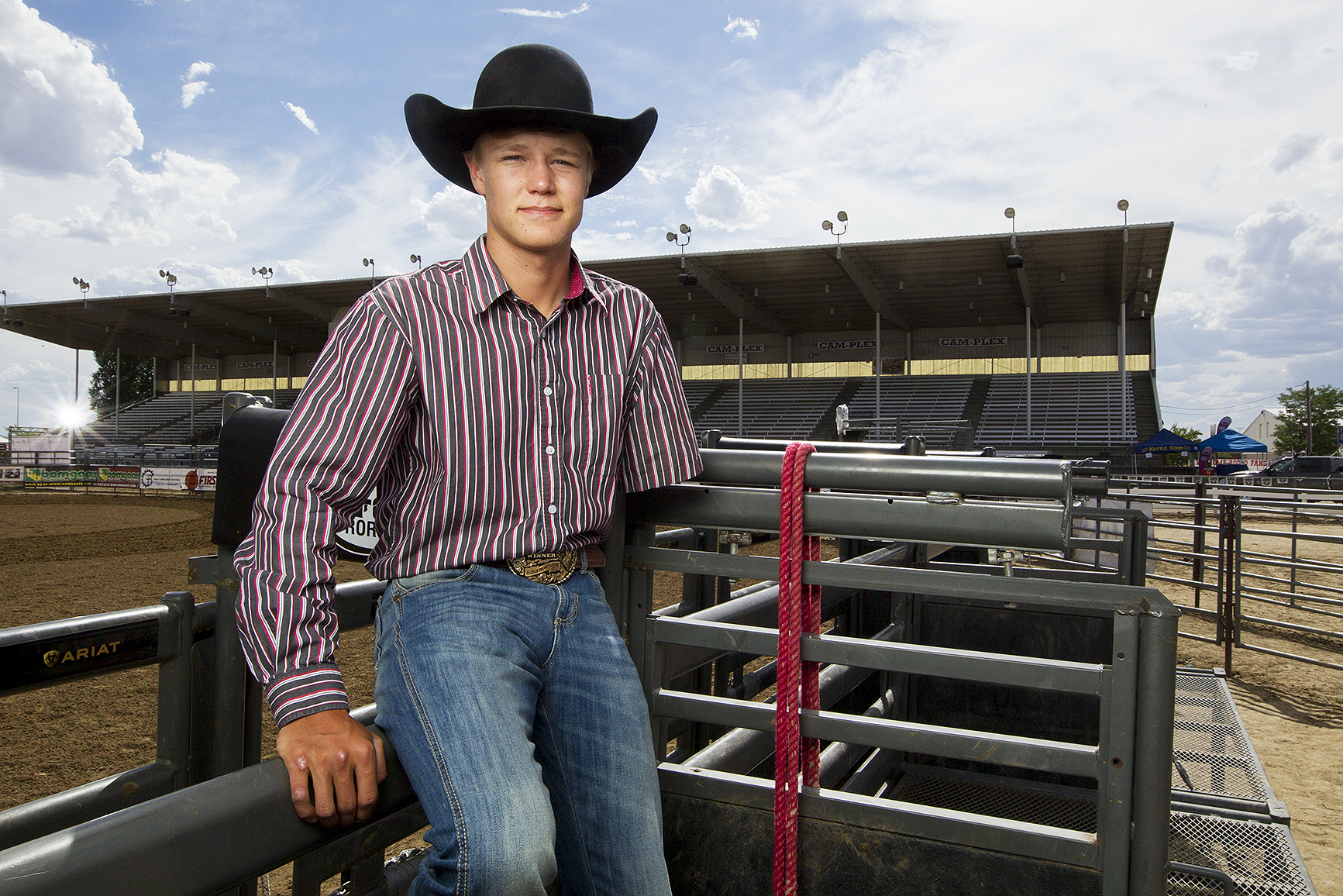 Nathan Urie, a saddle bronc rider from Ferron, Utah, qualified for his first NHSFR this year as a high school senior.