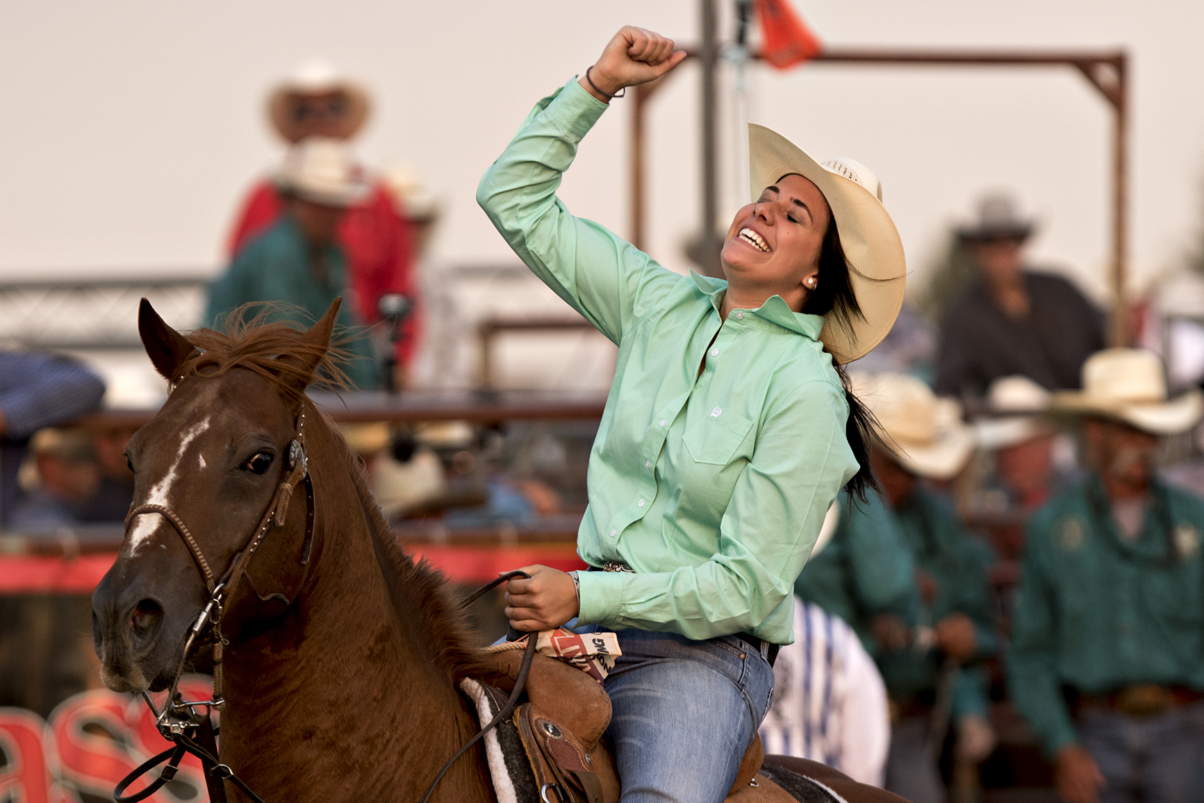 Virginia cowgirl Sarah Angelone celebrates after wining first overall in the breakaway roping at the short go of the 2016 National High School Finals Rodeo at Cam-plex on Saturday, July 23, 2016.