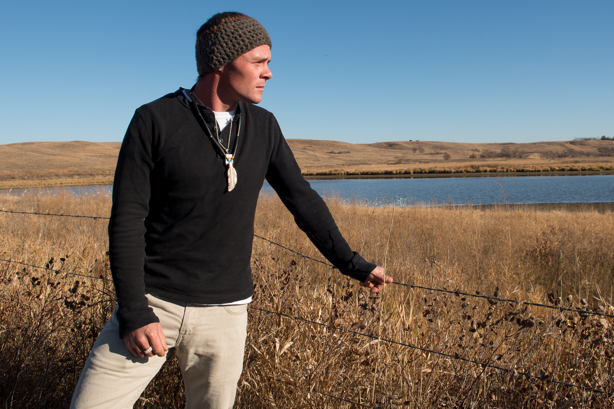 Kerry Rice, from Eugene, Oregon, stands next to Cantapeta Creek just north of the Oceti Sakowin camp along Highway 1805 north of the Standing Rock reservation in North Dakota. Rice, a former Army National Guard calvary scout came to Standing Rock to support those working to protect the water and lands.