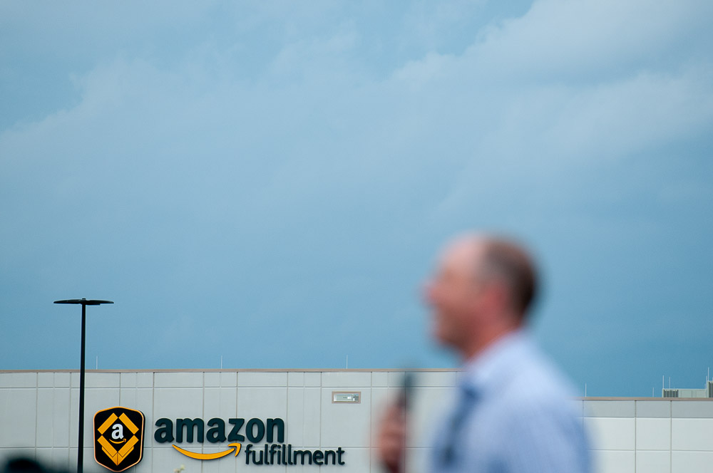 Minnesota state representative Brad Tabke (55A) talks to Amazon workers and supporters during the picket outside MSP-1, the Amazon fulfillment center in Shakopee on Monday, July 16, 2019, the first day of Amazon Prime Day.