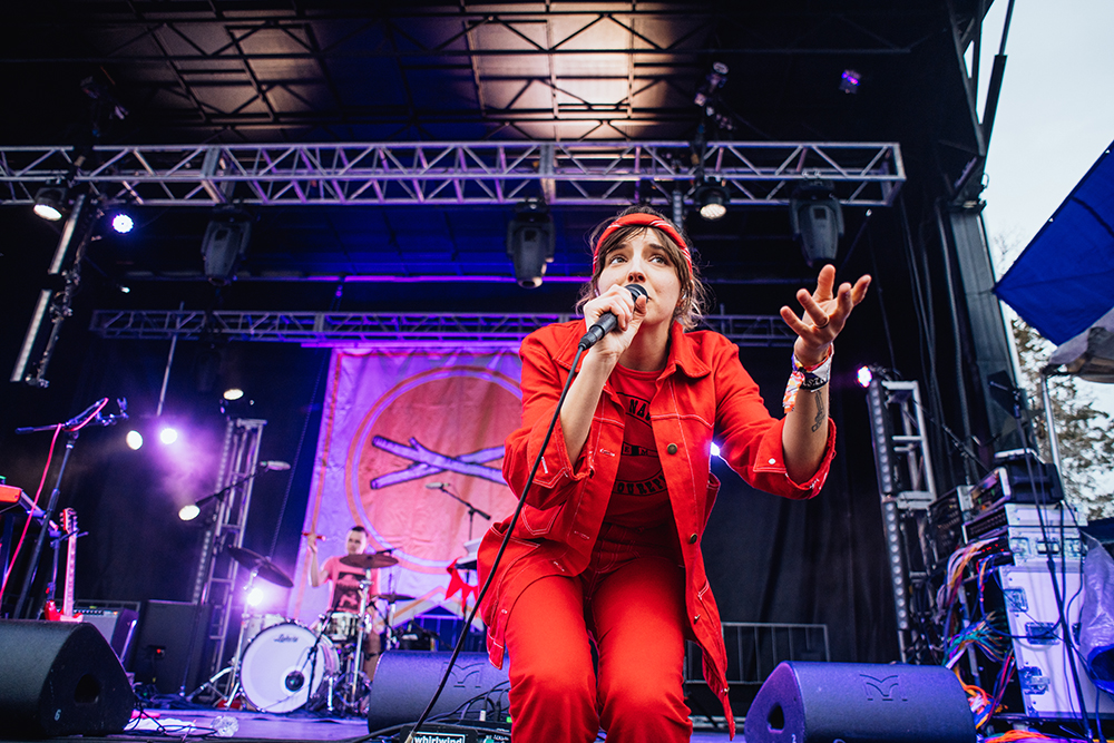 Caroline Rose performs on the main stage at the Treefort Music Festival in Boise, Idaho, on Saturday, March 24, 2019.