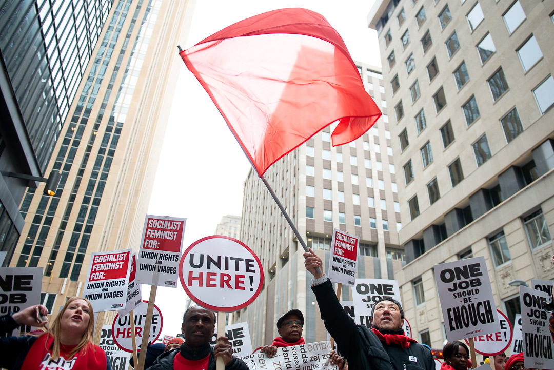 Unite Here! members and supporters rally in downtown Minneapolis on May 1, 2019.