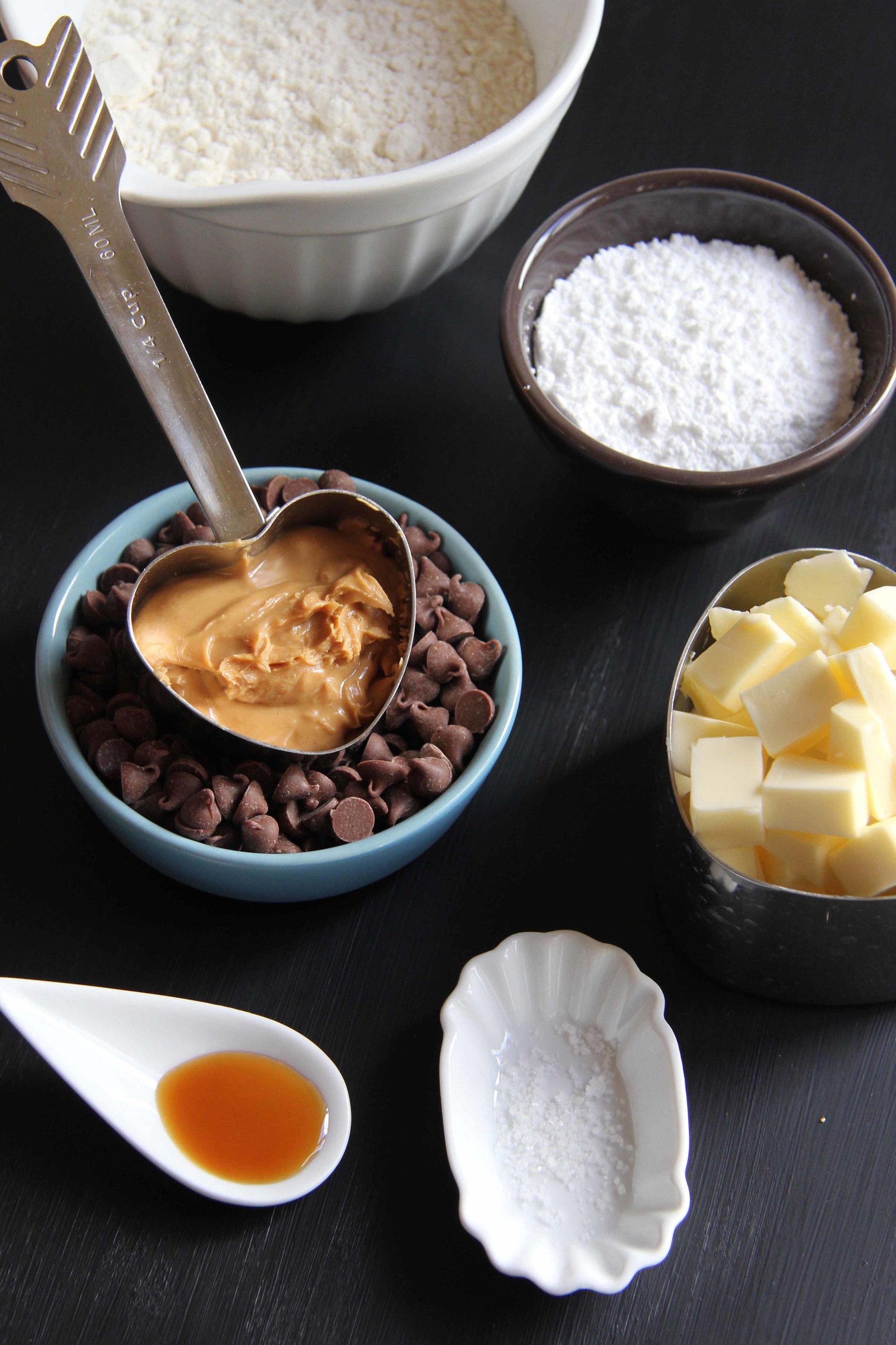 Shortbread Peanut Butter et pepites de chocolat - The Flying Flour - www.theflyingflour.com