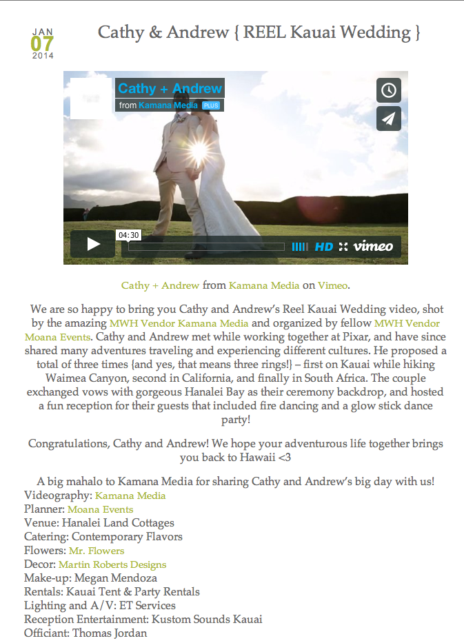 Kauai Hanalei Bay wedding