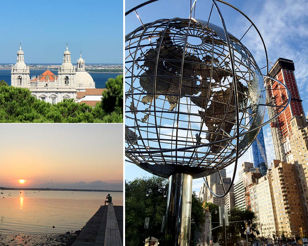Clockwise from top left: Sintra, Portugal; Columbus Circle, NYC; and Charleston, S.C. | Photo credits: Rose Spaziani