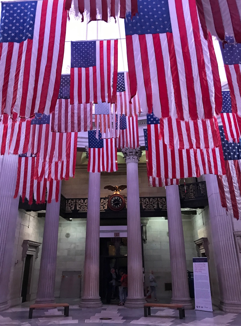American flags inside Federal Hall in NYC | Photo credit: Rose Spaziani