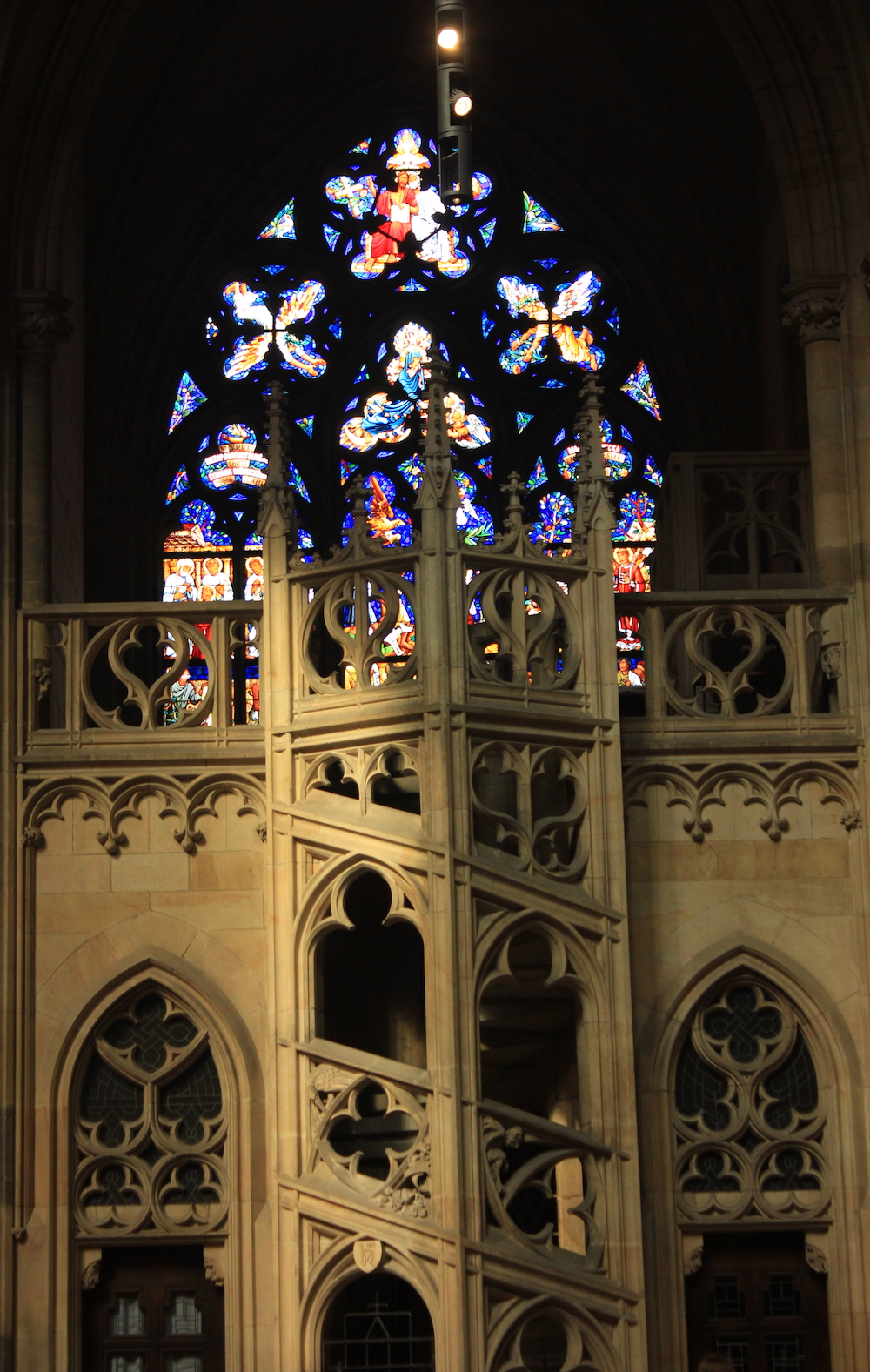 Stained glass window by Alfons Mucha in St. Vitus Cathedral   Photo credit: Rose Spaziani