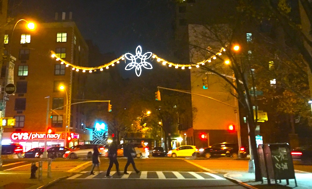 Street in NYC decorated for Christmas | Photo credit: Rose Spaziani