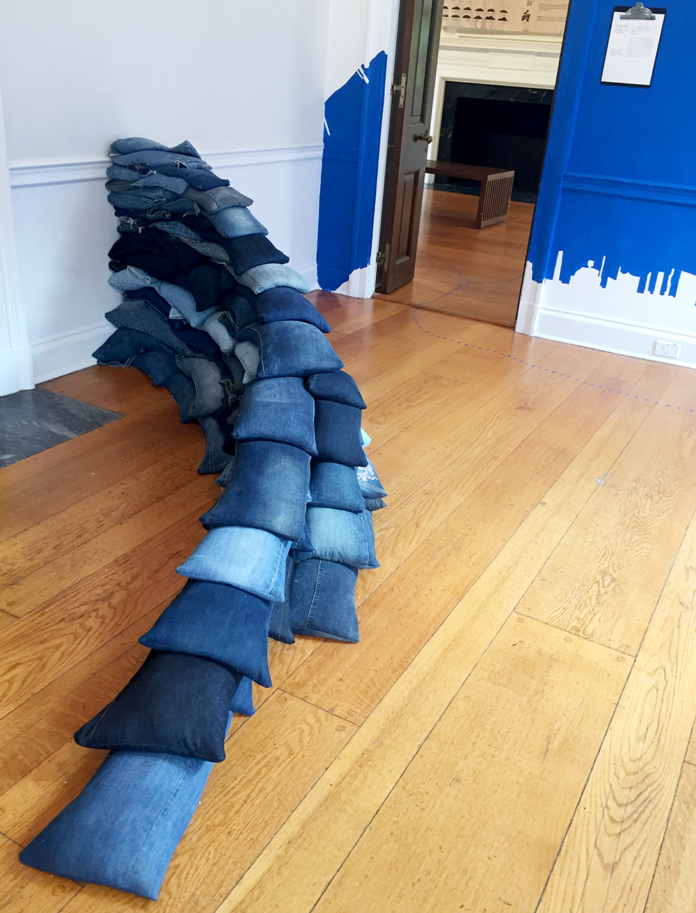 Denim sandbags by Jean Shin at Wave Hill, Bronx, N.Y.| Photo credit: Rose Spaziani
