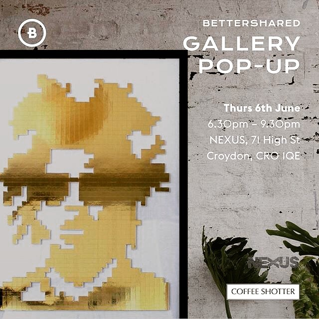 I'll be showcasing 3 of my most iconic pieces at the @bettershared galley pop-up this Thursday with a diverse and exciting group of artists. You're all invited to browse and mingle! —————— #gallery #art #popup #london #nexuscroydon #artshow #goldart #contemporaryartist