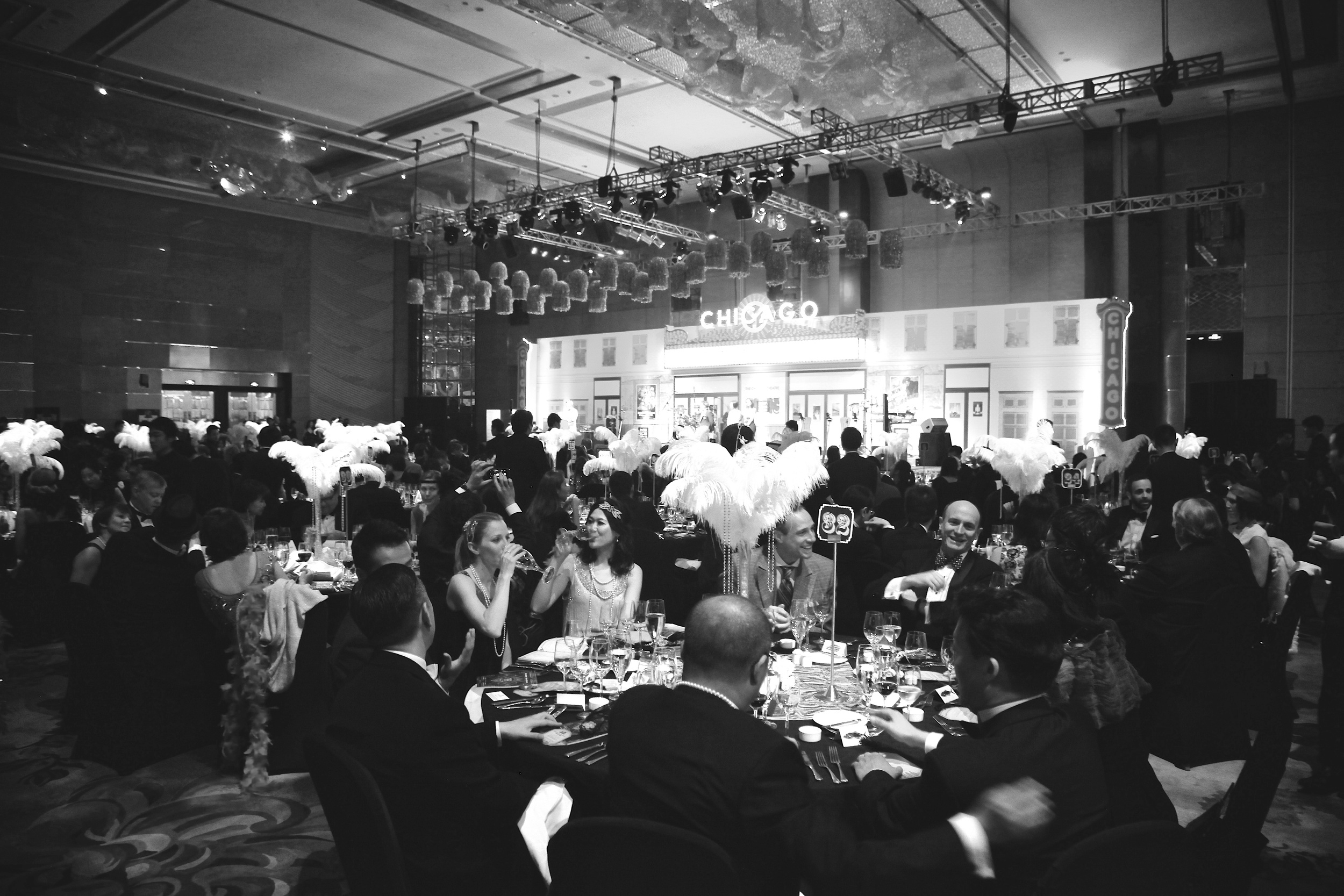 GALAS    Space: Hotel Ballroom, 1000 - 1500m2 - Guests: 300 - 500 people - Content: Concept Design & Visual Identity, Lobby Design, Ballroom Design, Table Display, Stage Design, Performance and Acts Curation.  See  AMERICAN CHAMBER OF COMMERCE CHARITY GALA ,  NANJING INTERNATIONAL CLUB GLITTER & GLAMOUR GALA.