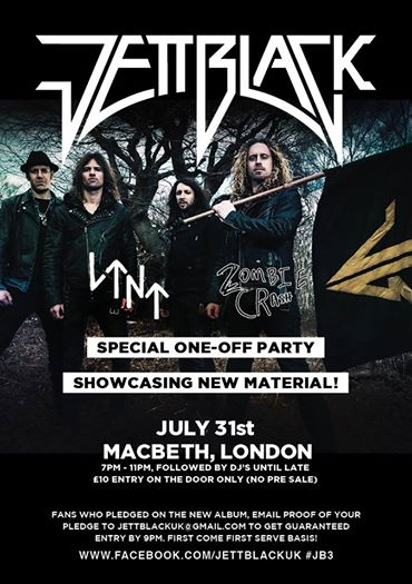 """ We would like to announce a very special show. We will be playing a one off on the 31st July at the Macbeth London. This is a very intimate show where we will be showcasing new material as well as a few oldies and maybe a few surprises. This is a first come first served show, £10 entry on the door. Pledgers are able to email the address on the flyer for guaranteed entrance.This is going to be a very special night!"""