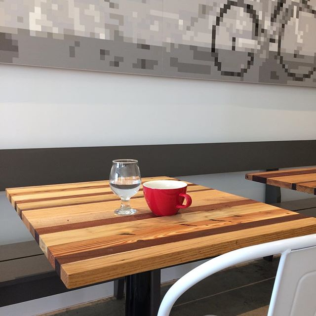 I don't have to say goodbye to these tables after delivering them - I'll be visiting often for some super delicious coffee and waffles. @broomwagoncoffee is opening SO SOON!