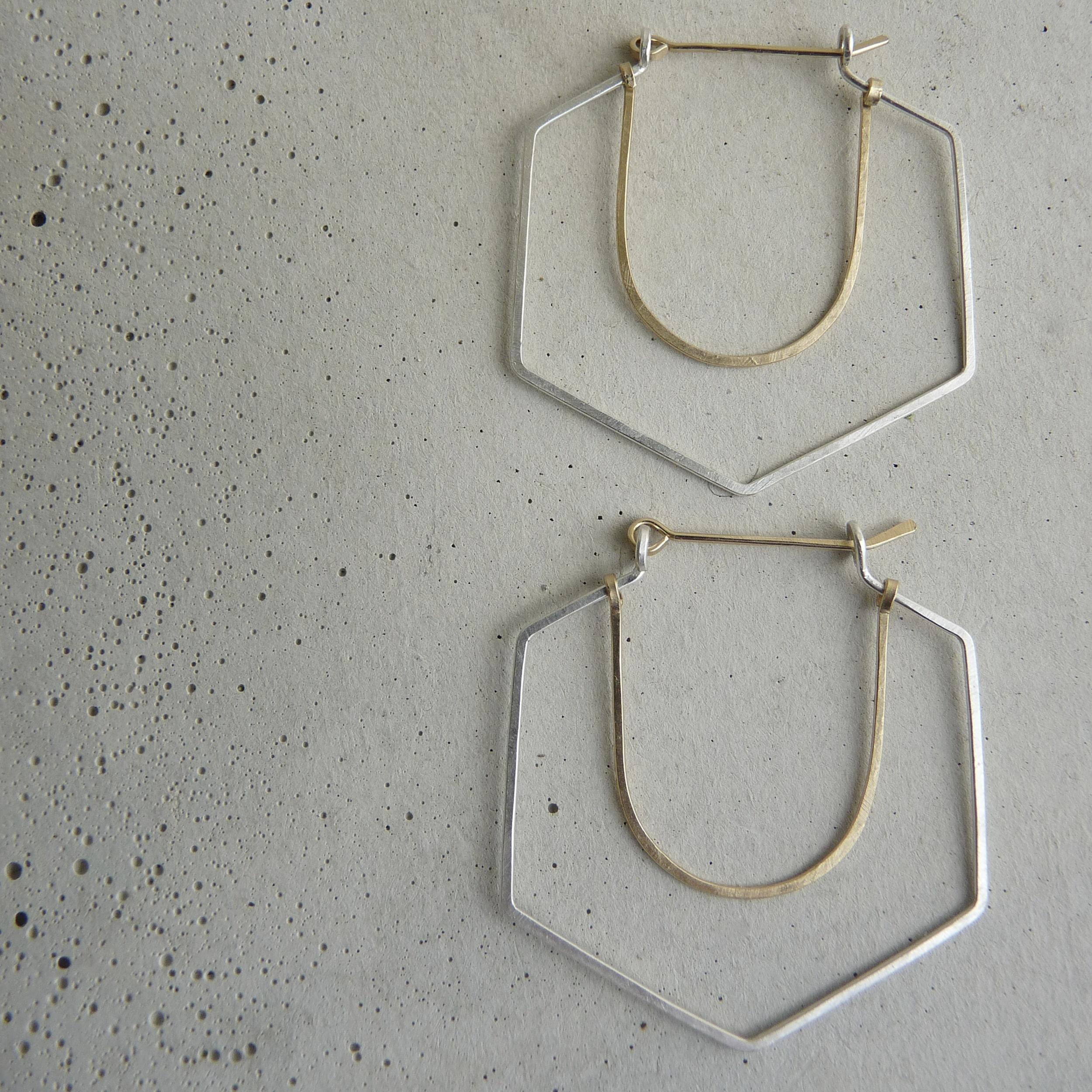 RAVINE hoop earrings, silver and gold geometric hoops, hammered silver hoop earrings, new refined basics