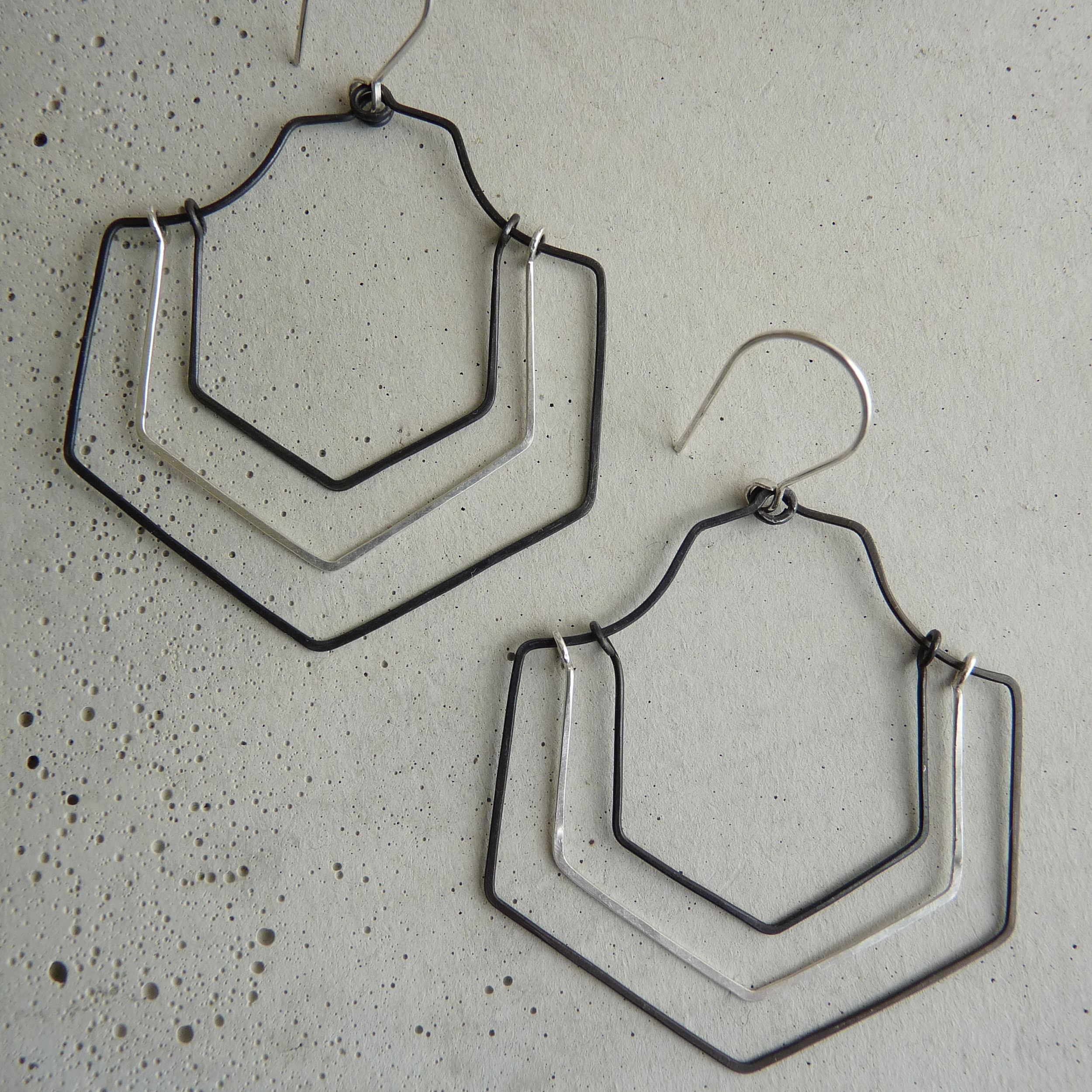 CREVASSE earrings, geometric long earrings, mixed metal earrings, hammered earrings, oxidized silver earrings, new refined basics