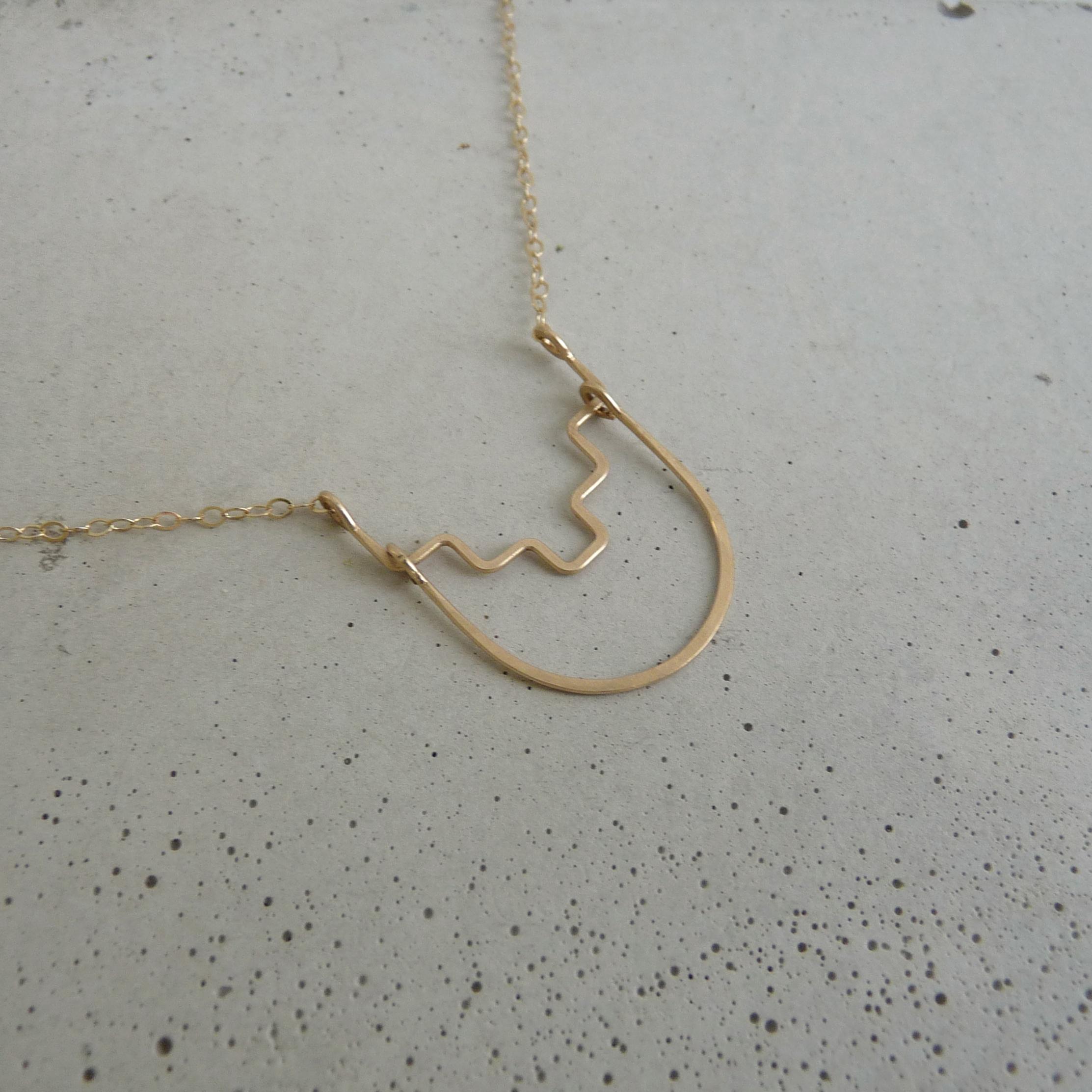 DESCEND necklace, gold aztec necklace, delicate gold necklace, delicate geometric necklace, new refined basics