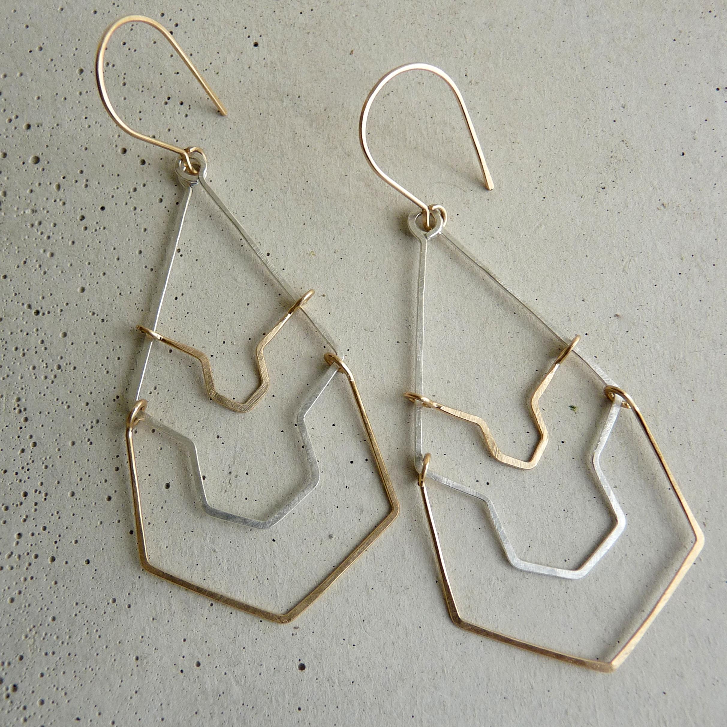 KARST earrings, long geometric earrings, bridal earrings, bridesmaid earrings, wedding jewelry, gold and silver long earrings, new refined basics, 2014 shifting seasons