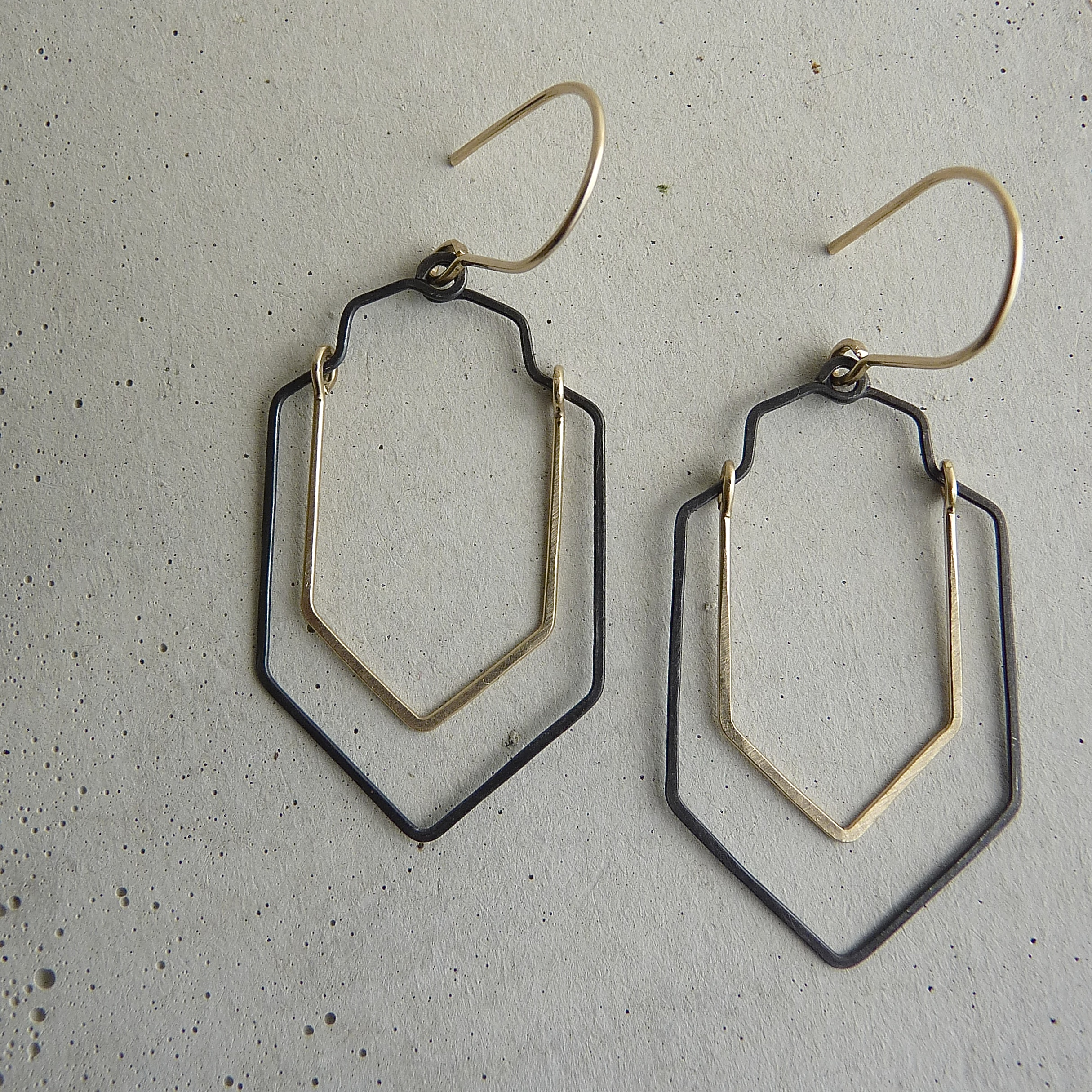 valley earrings, gold and black, modern contemporary, hammered earrings, geometric jewelry, new refined basics