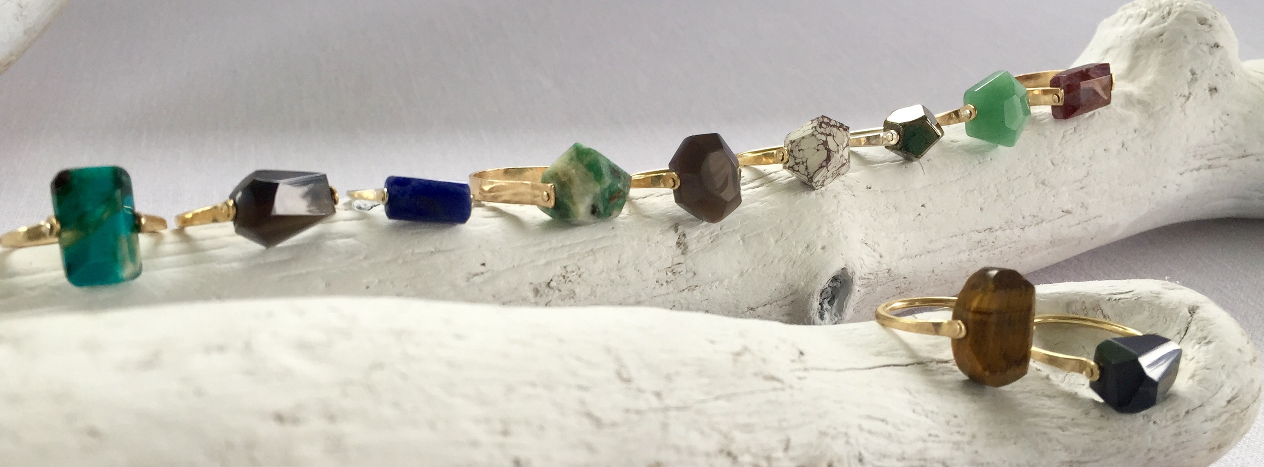 new refined basics lapidary rings