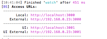 The watch path of the Gulp workflow started up two servers