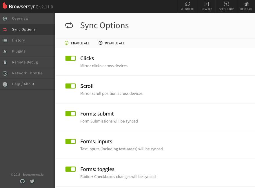 "The ""Sync Options"" tab in Browsersync dashboard"