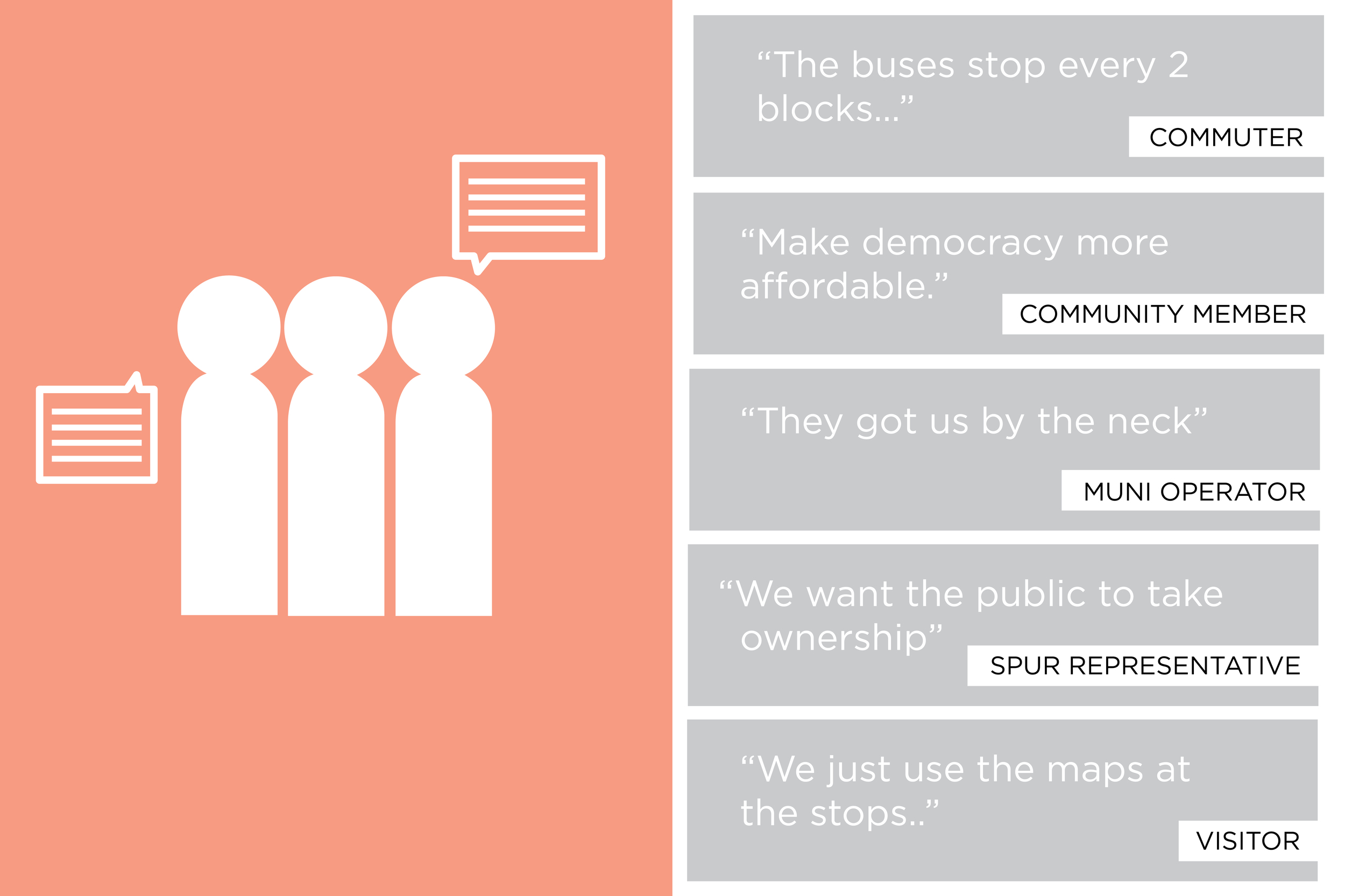 I spoke to a variety of stakeholders involved including MUNI operators, commuters, visitors, a transit authority consulting agency, SFMTA employee, and a SPUR representative. With the SFMTA user audience being the entire general public, I encountered many different opinions and user stories.
