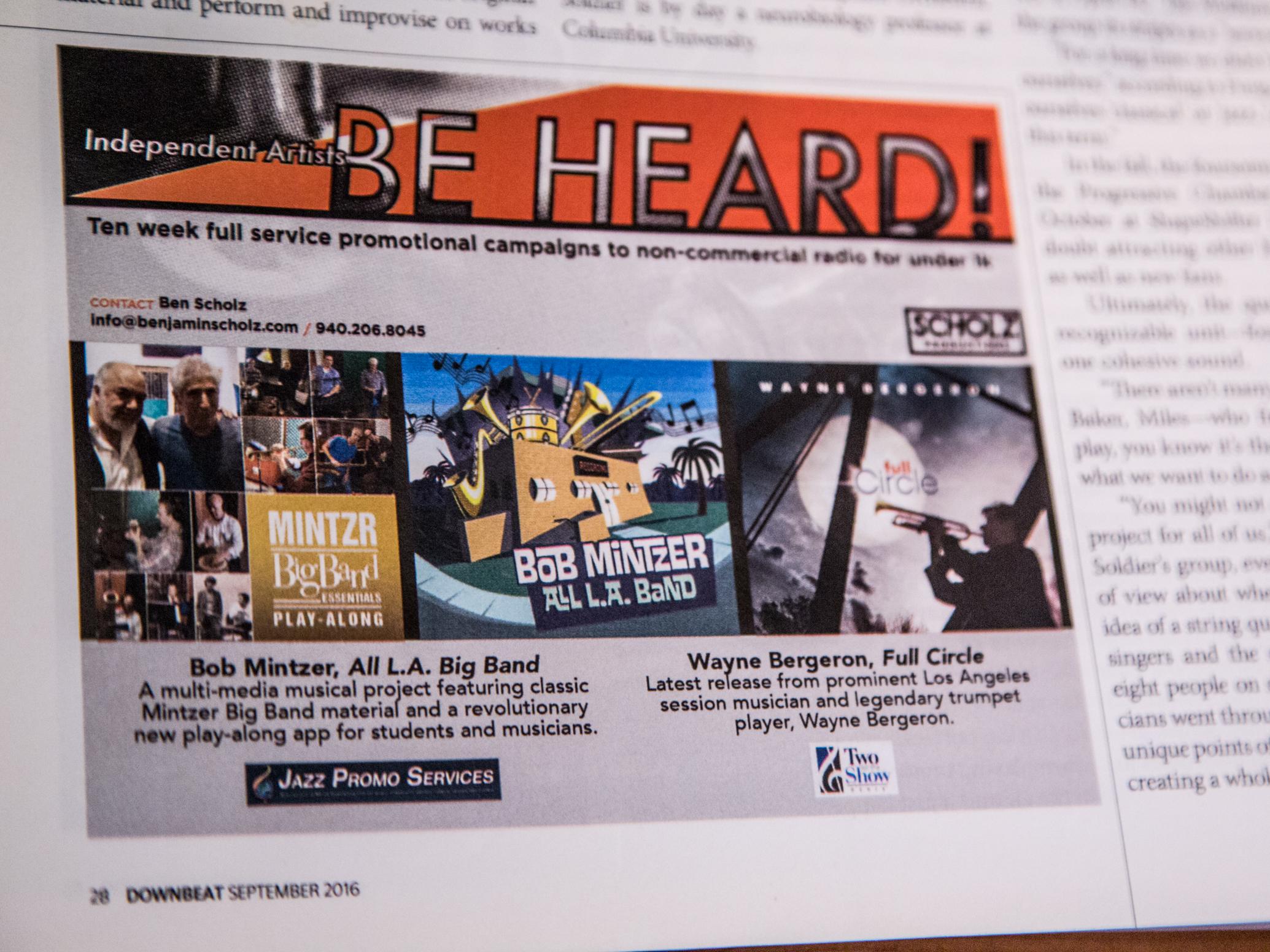 Downbeat Scholz Productions ad