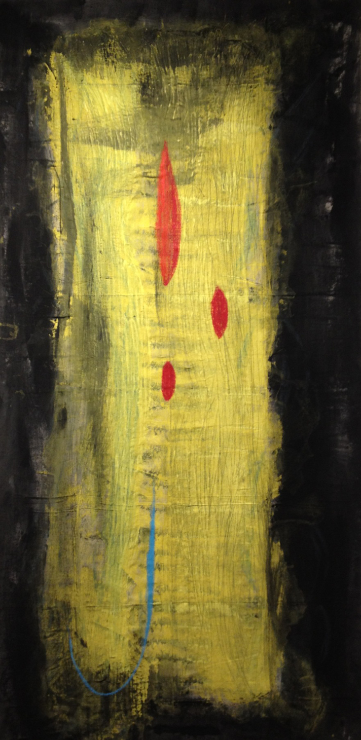 """Scarlett  Paint on Loose Unstretched Canvas 98"""" x 47"""" August 2013"""