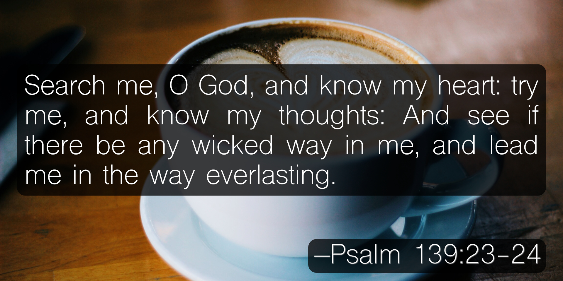 Search me, O God, and know my heart: try me, and know my thoughts: And see if there be any wicked way in me, and lead me in the way everlasting. –Psalm 139:23-24