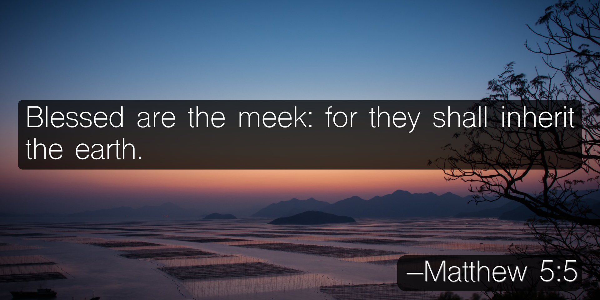 Blessed are the meek: for they shall inherit the earth. –Matthew 5:5