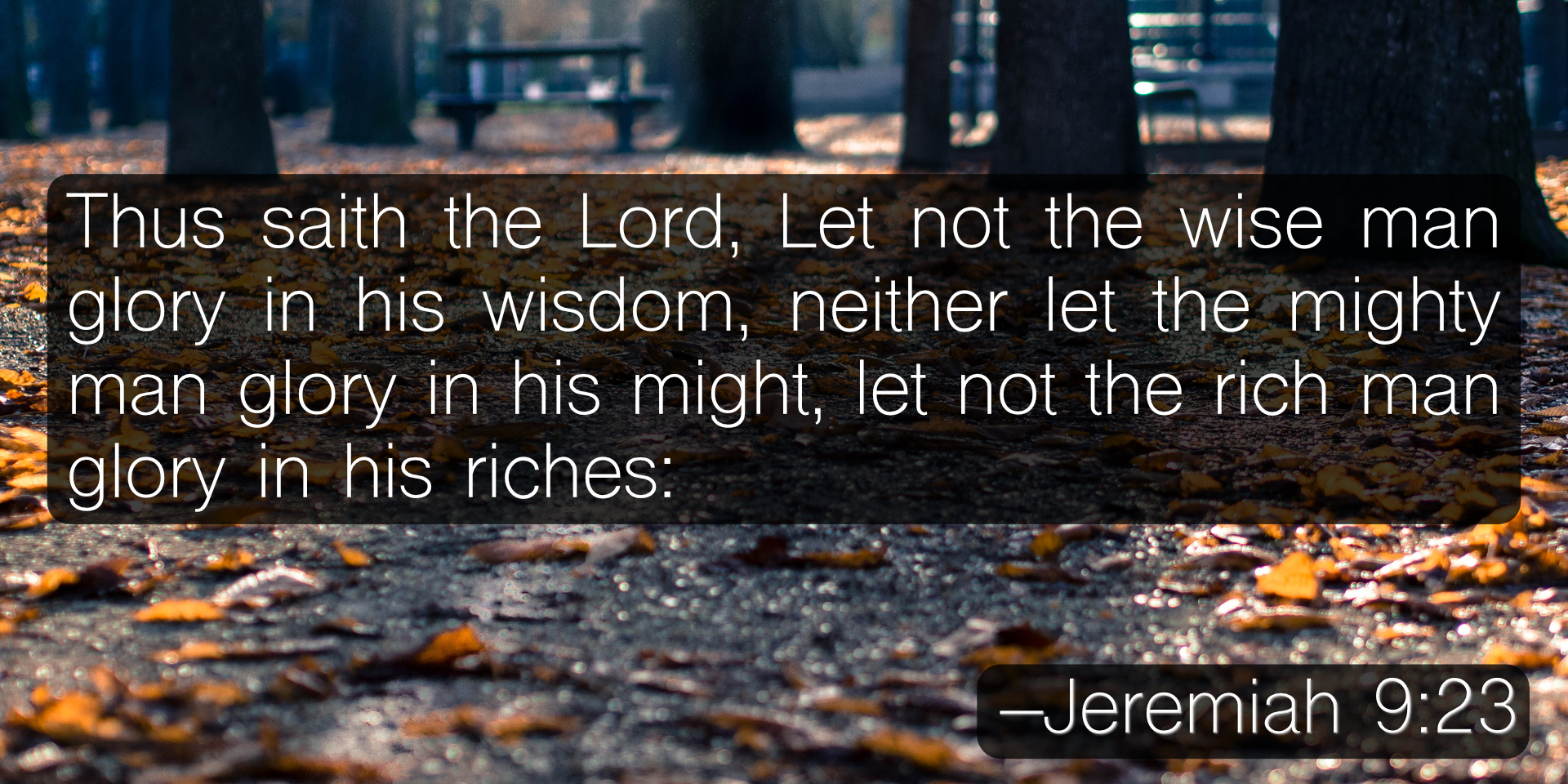 Thus saith the Lord, Let not the wise man glory in his wisdom, neither let the mighty man glory in his might, let not the rich man glory in his riches: –Jeremiah 9:23