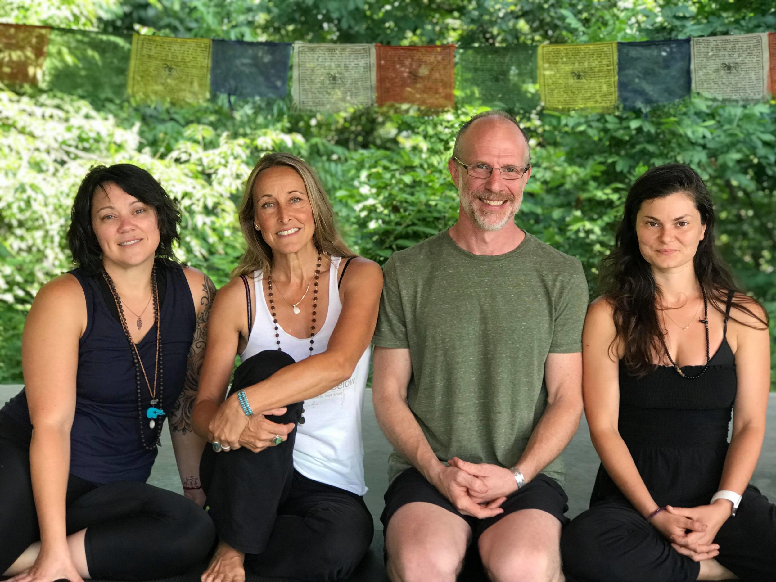 Featured from left to right: Kate Bee, RYT 500; Holly Krepps, C-IAYT and Co-founder of CYS; Matt Krepps, C-IAYT and Co-founder of CYS; Stela Balaban, RYT 500 and Program Director Asst.