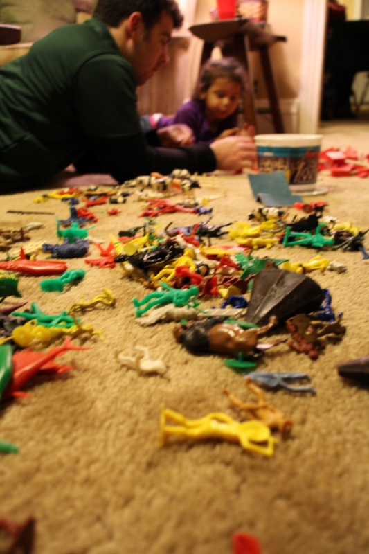 Playing with toys older than all of us put together back at the family farm on Christmas Day.