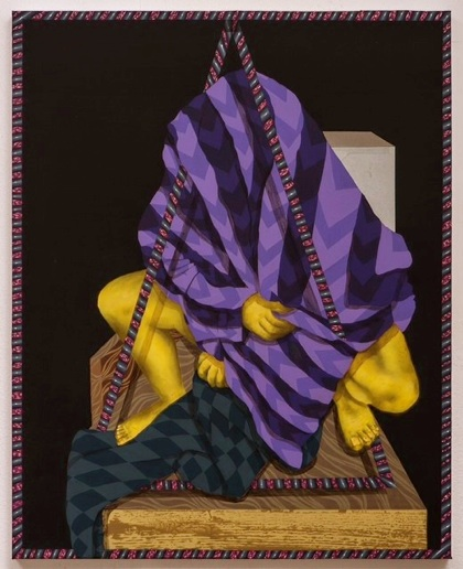 Amir H. Fallah   Sitting at the overturned throne , 2013 Acrylic, oil collage on paper mounted to canvas 24 x 30 inches $4000