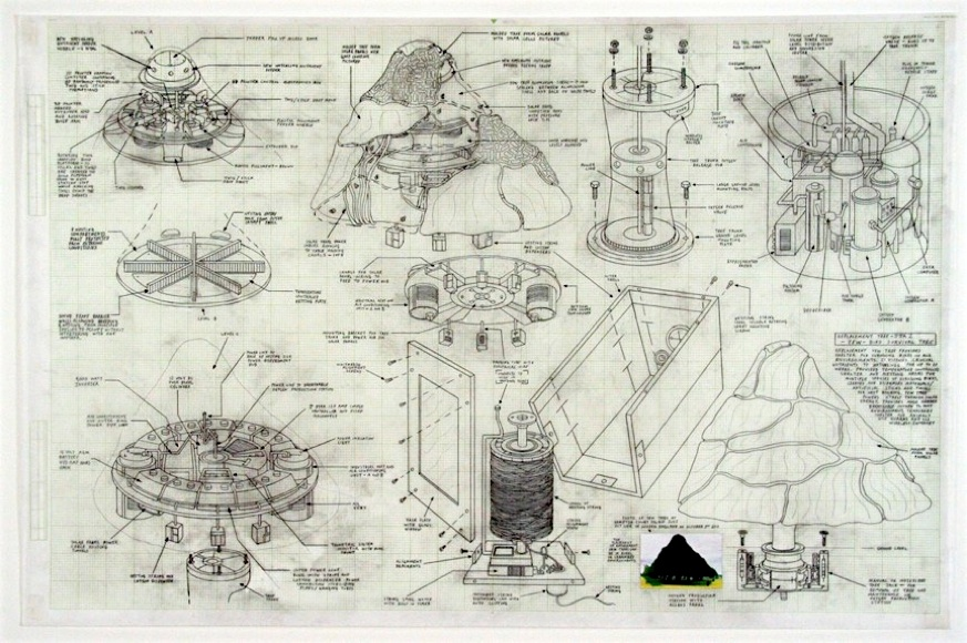Justin Amrhein   Replacement Tree (Yew) , 2012 Graphite and collage on paper 22 x 33 inches $4000 framed