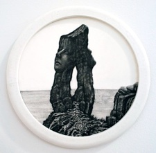 """Colette Robbins   The Buttress , 2013 Graphite Painting on Paper 6.5"""" diameter $800 framed"""