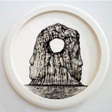 """Colette Robbins   The Keystone,  2013 Graphite Painting on Paper 6.5"""" diameter $800 framed"""
