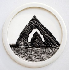 """Colette Robbins   The Citadel,  2013 Graphite Painting on Paper 6.5"""" diameter $800 framed"""