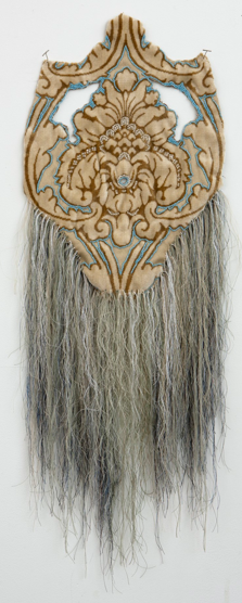 Rachel Frank      Dripping   Mask,      2012   Glass Beads, Upholstery   Fabric 36 x 15 in $1,100