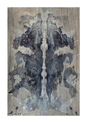 Elaine Su-Hui Chew     Dark Sleep (Inkblot)    ,  2013   Linoleum block print mounted   onto   Bookbinders Board   31 x 24 in    $650