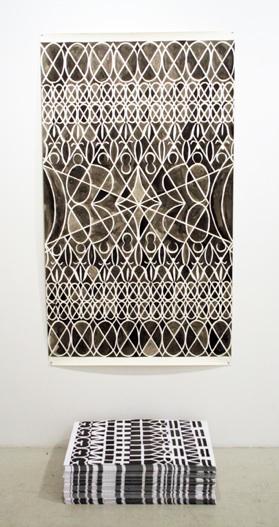 Julia Schwadron   XOXO,  2012 Ink on Paper 42 x 84 in $ 1500