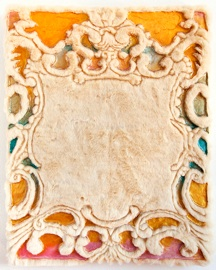 Catherine Lan   Magic Mirror V , 2012 Acrylic, Pearlescent Acrylic, Iridescent Acrylic, Gold Pigment on Faux Fur 21.5x17.5 in $ 2500