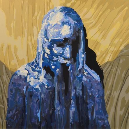 """Louis Spano   blueblueblueblue  Oil on plexiglass 17x17"""" $500"""