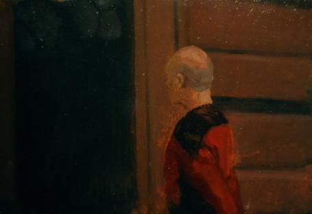 """Shawn Gallagher  P atrick Stewart Through A Glass Darkly , Oil on copper 5 x 7"""" $625"""