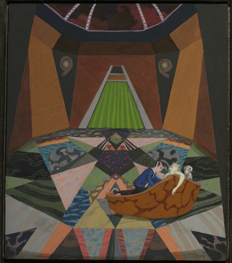 """Christopher Ulivo   Space Den Love-In  Egg tempera on panel 20x16"""" $3,000"""