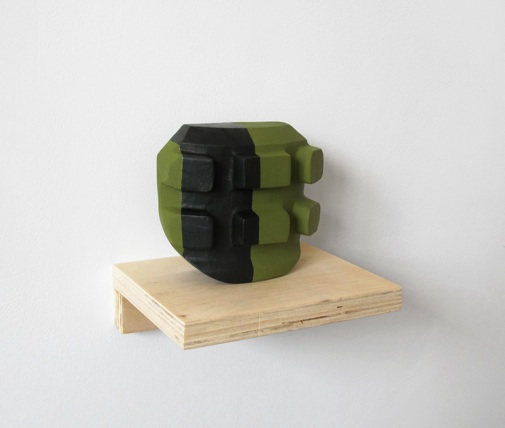 "Christina Tenaglia   Untitled , 2012 Plaster, Paint, wood shelf 4 7/8""x1 5/8"" x 4 1/4"" $750"