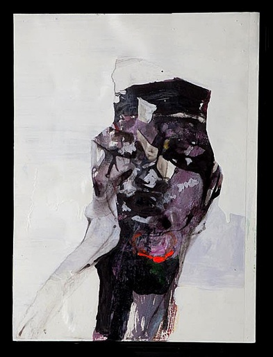 Emily Stoddart   Untitled (Face Plant Series),  2011 Acetate, mixed media on paper laid on canvas 9 x12 inches $800 framed